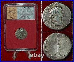 Ancient Roman Empire Coin TRAJAN Silver Denarius Trajan's Column Reverse