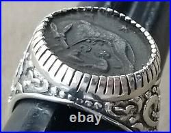 Ancient Roman Empire Constantine the Great She Wolf Twins URBS Coin Silver Ring