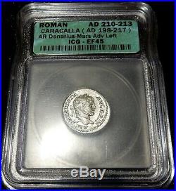 Ancient Roman Empire SILVER Coin CARACALLA Mars AR Denarius Extra Fine 210-213AD