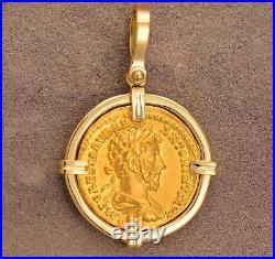 Ancient Roman Gold Aureus Coin Marcus Aurelius A. D. 161-180 18kt Gold Pendant