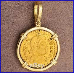 Ancient Roman Gold Solidus Coin in Solid 18kt Gold Pendant Valens A. D. 364-378