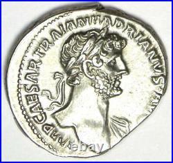 Ancient Roman Hadrian AR Denarius Coin 119 AD Choice XF / AU