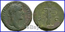 Ancient Roman Imperial Coins Antoninus Pius Minerva Sestertius. 146 AD