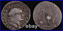 Ancient Roman Imperial Silver Coin Vespasian. AD 70-72, AR Denarius, Rome mint