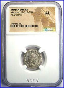Ancient Roman Macrinus AR Denarius Silver Coin 217-218 AD Certified NGC AU