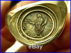 Ancient Roman Marcus Aurelius Coin Sterling 14KT YG Erez Epshtein Ring Size 10