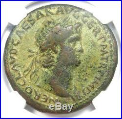 Ancient Roman Nero AE Sestertius Coin 54-68 AD Certified NGC VF Rare Coin