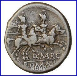 Ancient Roman Republic Coin R. Marcius Libo Silver Denarius 148 BC