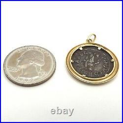 Ancient Roman Severus Alexander Imperial Silver Denari Coin 14k Gold Charm