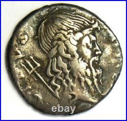 Ancient Roman Sextus Pompey AR Denarius Silver Neptune Coin 42-40 BC VF