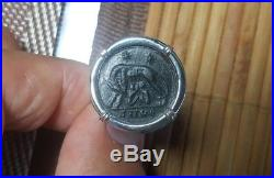 Ancient Roman She Wolf & Twins Constantine the Great Coin 925 Silver Ring Sz 11