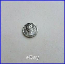 Ancient Roman Silver AR Denarius Coin Caesar AUGUSTUS Pergamum MINT 27 BC