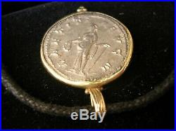 Ancient Roman Silver Coin Gordianus III 18kt Solid Gold Jewel Necklace Pendant