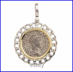 Ancient Roman Silver Coin in Sterling Silver & 14KT Gold Pendant A. D. 244-249
