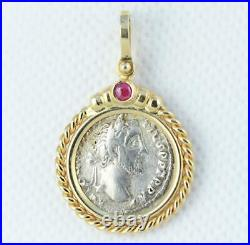 Ancient Roman Silver Denarius Antoninus Pius Coin in 14kt Gold Pendant with Ruby