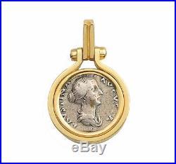 Ancient Roman Silver Denarius Coin Faustina Jr. A. D. 147-175 in 14kt Gold Pendant