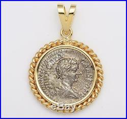 Ancient Roman Silver Denarius Coin Geta A. D. 209-212 in Solid 14kt Gold Pendant