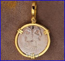 Ancient Roman Silver Denarius Janus Head Coin in 18kt Gold Pendant 114 B. C