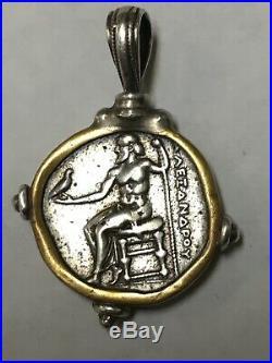 Ancient Roman Silver Tetradrachm Coin In Bezel