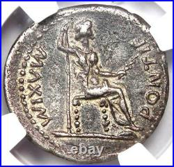 Ancient Roman Tiberius AR Denarius Silver Coin 14-37 AD Certified NGC VF