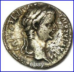 Ancient Roman Tiberius AR Denarius Silver Tribute Penny Coin 14-37 AD. Fine / VF