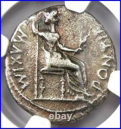 Ancient Roman Tiberius AR Denarius Silver Tribute Penny Coin 14-37 AD NGC Fine