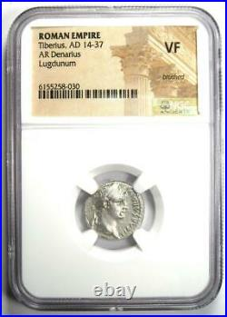 Ancient Roman Tiberius AR Denarius Silver Tribute Penny Coin 14-37 AD NGC VF