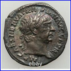 Ancient Roman Trajan AR Denarius Silver Coin 98-117 AD BURGUNDY TONE VICTORY XF