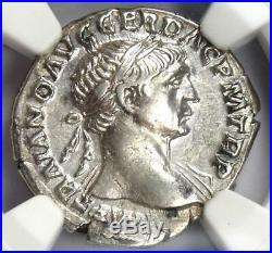 Ancient Roman Trajan AR Denarius Silver Coin 98-117 AD Certified NGC AU