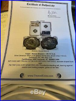 Ancient Roman Trajan AR Denarius Silver Coin 98-117 AD Certified NGC VF