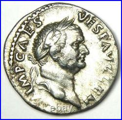 Ancient Roman Vespasian AR Denarius Silver Coin 73 AD Choice VF