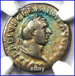 Ancient Roman Vitellius AR Denarius Coin 69 AD Certified NGC VG (Very Good)