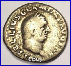 Ancient Roman Vitellius AR Denarius Coin 69 AD VF Condition Rare