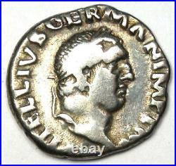 Ancient Roman Vitellius AR Denarius Dolphin Coin 69 AD VF Rare