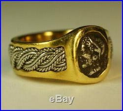 Ancient Silver Roman Coin Aelia Ariadne 22K Yellow Gold Designer Ring Tim Kahdri