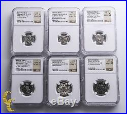 Ancient Silver Roman Empire 89 B. C to 282 A. D Lot of 6 Graded NGC Coins F-XF