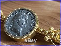 Antique Gold Filled Vespasian Ancient Roman Silver Denarius Coin Ornate Brooch