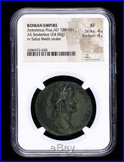 Antoninus Pius 138 161 Ad Sestertius Ancient Roman Coin Salus Feeds Snake N