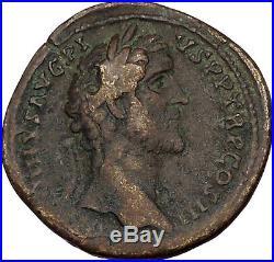 Antoninus Pius 140AD Big Sestertius Ancient Roman Coin Quadriga horse i41933
