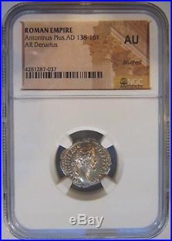 Antoninus Pius Roman Empire 138-161 AD NGC AU Silver AR Denarius Ancient Coin