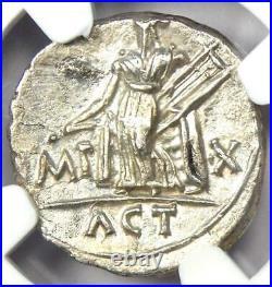 Augustus AR Denarius Coin 15-13 BC (Lugdunum) Certified NGC VF (Very Fine)