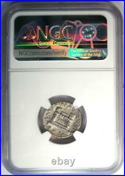 Augustus AR Denarius Coin 19 BC (Q. Rustius, Fortuna) Certified NGC XF (EF)