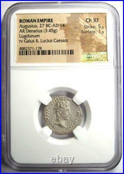 Augustus AR Denarius Coin 27 BC 14 AD (Lugdunum). Certified NGC Choice XF (EF)