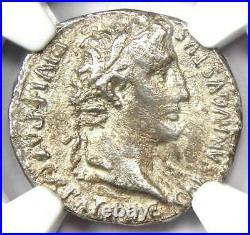 Augustus AR Denarius Coin 27 BC- 14 AD (Lugdunum) Certified NGC VF (Very Fine)