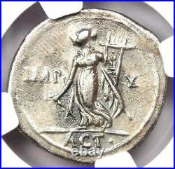 Augustus AR Denarius Coin 27 BC 14 AD (Lugdunum Mint). Certified NGC Choice VF