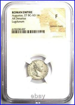 Augustus AR Denarius Coin 27 BC 14 AD (Lugdunum Mint) Certified NGC Fine