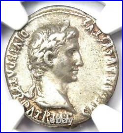 Augustus AR Denarius Coin 27 BC 14 AD (Lugdunum) NGC Choice VF (Very Fine)