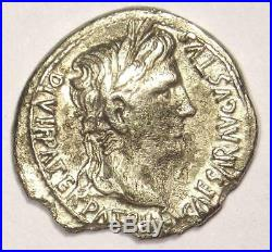 Augustus AR Denarius Silver Coin (27 BC 14 AD) Choice XF Details Rare