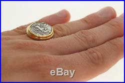 Authentic Ancient Denarius Coin Ring 18k & 22k Gold Roman SAFRA Silver Size 10