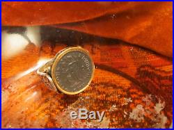 Authentic Ancient Roman Coin Beautiful Bronze Scene of Victory Men's Ring
